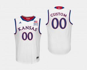 For Men Alumni College Basketball White #00 University of Kansas Customized Jerseys 727845-994