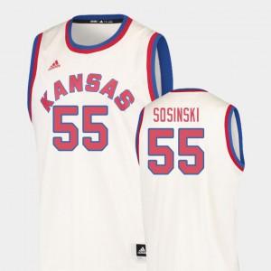 Cream College Basketball College #55 Men's Hardwood Classics KU James Sosinski Jersey 462321-416