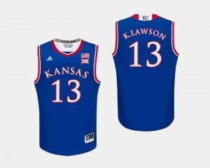 Jayhawks K.J. Lawson Jersey #13 Royal For Men's College Basketball Player 749918-485