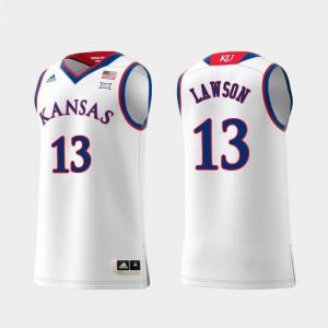 Replica Swingman College Basketball KU K.J. Lawson Jersey Mens Embroidery White #13 474107-460