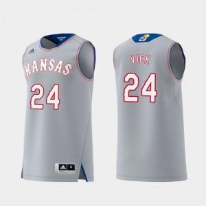 Men NCAA Replica #24 Swingman College Basketball Gray University of Kansas Lagerald Vick Jersey 741460-978