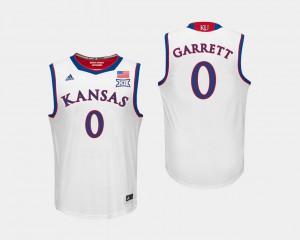 College #0 Jayhawks Marcus Garrett Jersey White College Basketball Men 658697-184
