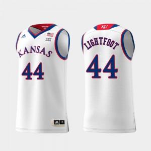 Men's Player Replica Kansas Jayhawks Mitch Lightfoot Jersey #44 White Swingman College Basketball 252842-783