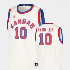 Official Hardwood Classics College Basketball University of Kansas Sviatoslav Mykhailiuk Jersey Cream #10 For Men 588637-509