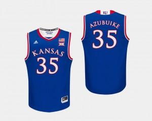 Men Jayhawks Udoka Azubuike Jersey College Basketball College #35 Royal 919065-297
