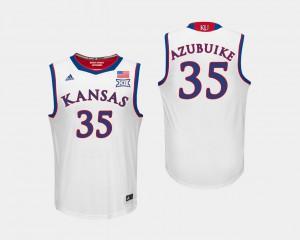 For Men #35 White Jayhawks Udoka Azubuike Jersey College Basketball Player 275240-583