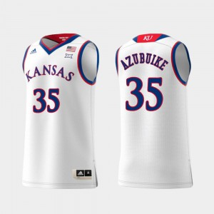 #35 White University of Kansas Udoka Azubuike Jersey For Men's Replica Swingman College Basketball Stitched 735859-282