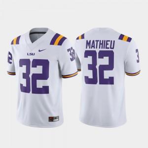 Game Louisiana State Tigers Tyrann Mathieu Jersey #32 For Men's White Alumni Player Embroidery 589755-874