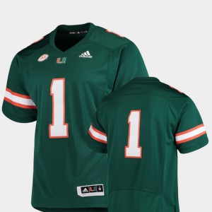 Premier Official Men's College Football Green #1 Miami Jersey 503319-135