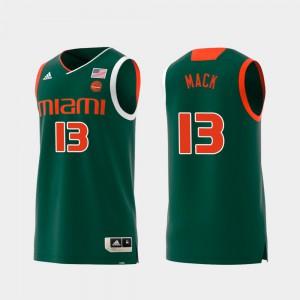 Replica #13 University of Miami Anthony Mack Jersey Alumni For Men Green Swingman College Basketball 995011-150