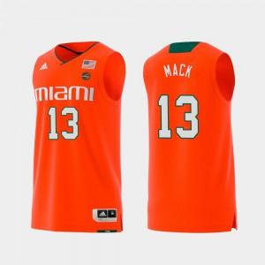 Orange #13 Swingman College Basketball Replica Stitched Men's Hurricanes Anthony Mack Jersey 393334-407
