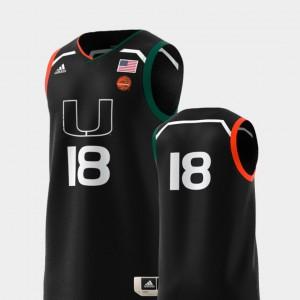 Basketball Swingman Black #18 College Replica Miami Jersey NCAA Mens 602660-617