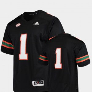 #1 Mens Premier Official Black College Football Miami Jersey 219138-825