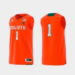 College Replica Miami Hurricanes Jersey Orange Men's Basketball Swingman #1 Official 474206-171