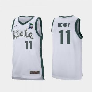 Men 2019 Final-Four White Retro Performance NCAA #11 Michigan State University Aaron Henry Jersey 406862-292
