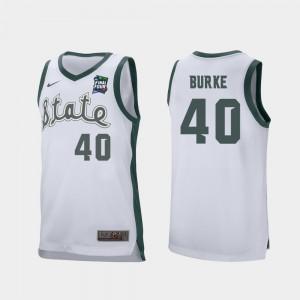 #40 For Men's Retro Performance Spartans Braden Burke Jersey 2019 Final-Four Alumni White 668506-218