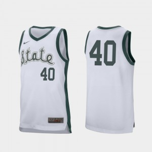 College Basketball Mens Retro Performance Spartans Braden Burke Jersey #40 White NCAA 926234-546