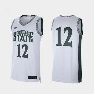 Men's Michigan State Spartans Jersey Retro Limited College Basketball University White #12 538556-561