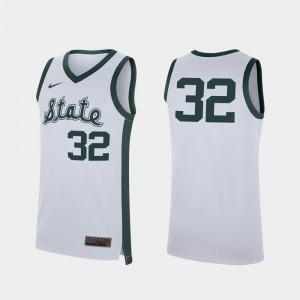 Retro College Basketball College White Replica Michigan State University Jersey #32 For Men's 377157-175