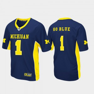 Max Power Navy Michigan Jersey Men's Football #1 Embroidery 455446-333