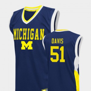 Fadeaway #51 College Basketball Player Blue Michigan Austin Davis Jersey Men's 614675-699