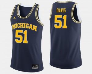 College Basketball #51 Michigan Austin Davis Jersey Navy Men's Stitch 678991-660