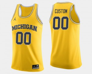 Maize For Men's #00 Michigan Wolverines Custom Jersey Embroidery College Basketball 457448-291