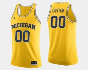 #00 College Basketball University University of Michigan Customized Jersey Mens Maize 631881-294