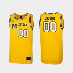 Replica Player Michigan Customized Jersey Maize For Men #00 1989 Throwback College Basketball 545029-542