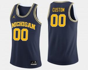Embroidery Men's College Basketball Michigan Custom Jerseys #00 Navy 507029-749