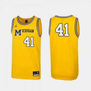 #41 1989 Throwback College Basketball Michigan Jersey Maize Replica Alumni Mens 552502-155