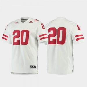 White Stitch Premier #20 Men's Football Nebraska Cornhuskers Jersey 693834-728