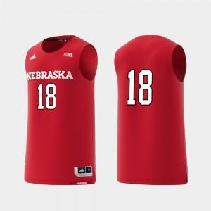 Embroidery College Replica #18 University of Nebraska Jersey Men Scarlet Basketball Swingman 646741-953
