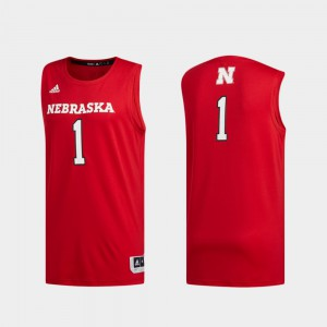 #1 For Men's College University of Nebraska Jersey Scarlet Basketball Swingman Swingman Basketball 576804-719