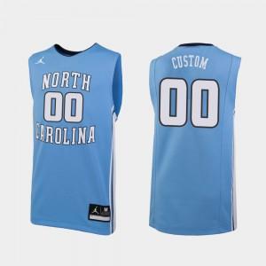 North Carolina Tar Heels Custom Jersey College Basketball #00 Carolina Blue Men Replica High School 244734-706