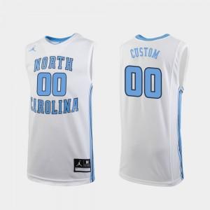 For Men's White Replica #00 College Basketball University UNC Tar Heels Customized Jersey 293504-664