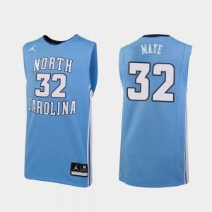 UNC Tar Heels Luke Maye Jersey College Basketball For Men #32 Replica Embroidery Carolina Blue 464489-992