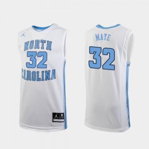 #32 White University of North Carolina Luke Maye Jersey College Basketball Replica Men's University 140132-762