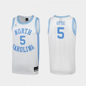 North Carolina Nassir Little Jersey #5 Special College Basketball White Men March Madness Official 644400-900