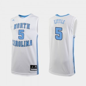 For Men's White Official College Basketball UNC Nassir Little Jersey #5 Replica 515764-712