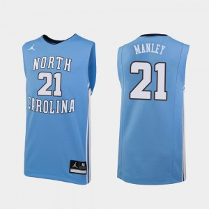 Embroidery For Men College Basketball Replica Carolina Blue #21 North Carolina Sterling Manley Jersey 700141-405