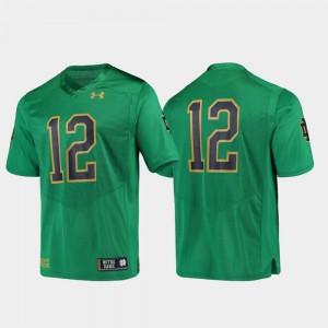 Football For Men's #12 Replica Official UND Jersey Green 821434-149