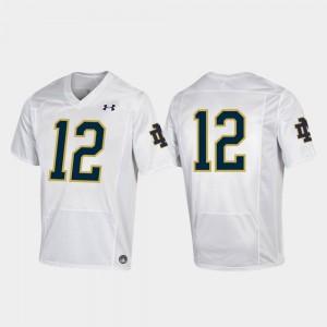 Premier #12 White College Football University Mens Irish Jersey 372556-193