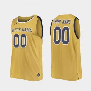 Men Official Replica College Basketball Notre Dame Custom Jersey Gold #00 549807-984
