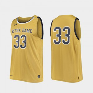 Official For Men College Basketball #33 Replica Notre Dame Jersey Gold 557005-784