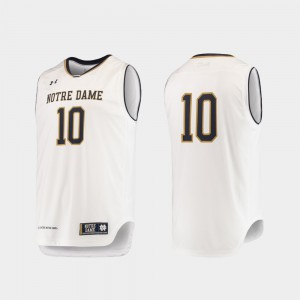 For Men's College Basketball College White Notre Dame Jersey #10 Authentic 928556-933