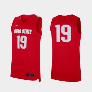 Men Replica #19 College College Basketball Ohio State Jersey Scarlet 980090-488