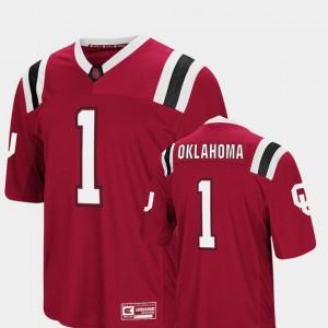 Mens Colosseum #1 Crimson Embroidery Sooners Jersey Foos-Ball Football 794227-548