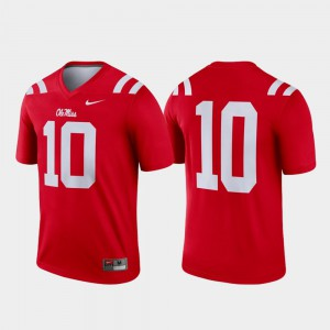 Legend High School College Football #10 For Men's University of Mississippi Jersey Red 803135-770