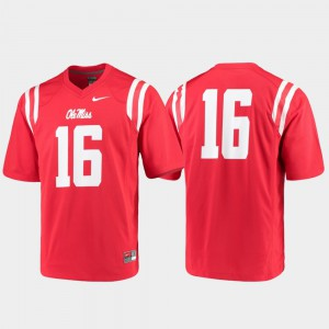 Game Mens Stitched University of Mississippi Jersey #16 College Football Red 558385-879